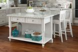 Dining Island with Open End Shelf Unit with Drawers and Decorative Legs-1