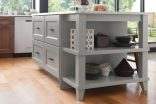 Island with Drawers and Open End Shelf Unit with Decorative Legs-1